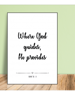 Poster A4 where God guides he provides